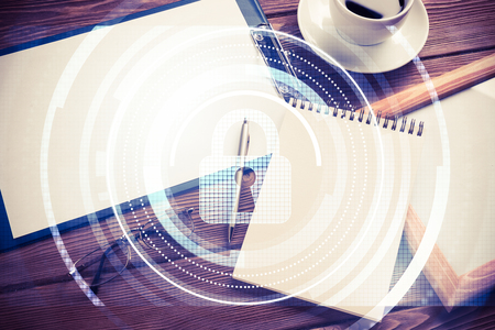 stuff: Tablet, coffee cup and other office stuff on wooden table Stock Photo