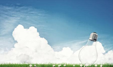 bulb fields: Electric light bulb against summer cloudy sky