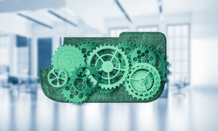 mixed media: Color gears and cogwheels mechanism or engine on white office background. 3d rendering