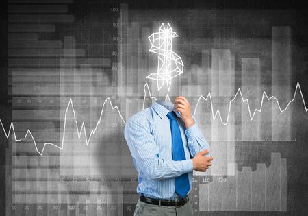 earn money: Faceless businessman with dollar sign instead of head Stock Photo