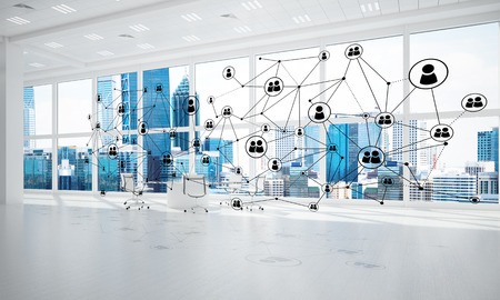 mixed media: Lines connected with dots as social communication concept in office interior. 3D rendering