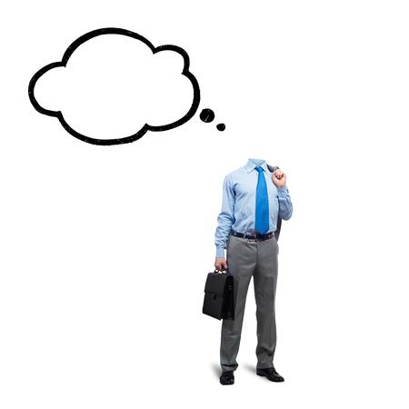 homme d & # 39 ; affaires sans tête sur fond blanc avec bulle de dialogue à l & # 39 ; Banque d'images