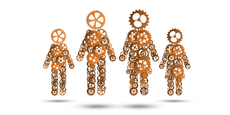 Figures of man, woman and children made of gears and cogwheels on white background