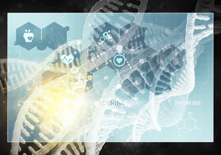 Media medicine background image as DNA research concept. 3D rendering Stock Photo - 78330084