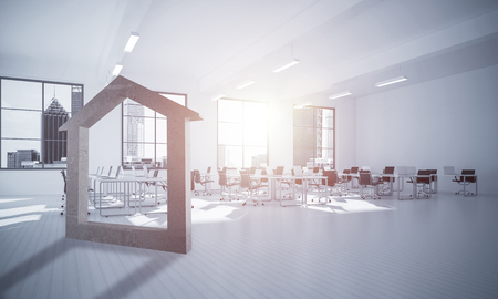 House stone figure as symbol of real estate and elegant office design. 3d rendering Stock Photo - 77778996