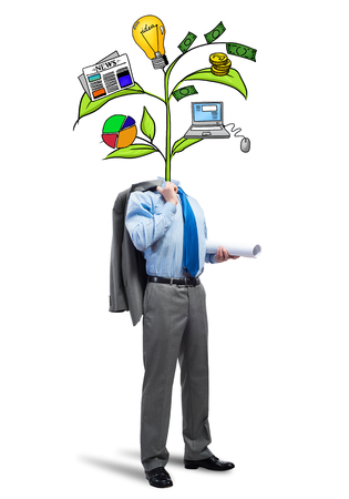 diagrama de arbol: Faceless businessman on white background with drawn growth concept instead of head