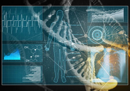 medical technology: Media medicine background image as DNA research concept. 3D rendering