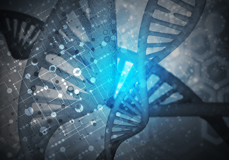medical technology: Background image with DNA molecule research concept. 3D rendering Stock Photo