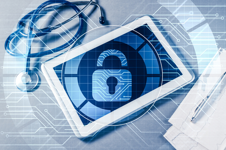 White tablet pc and access security concept on media screen Stock Photo