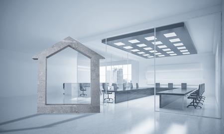 House stone figure as symbol of real estate and elegant office design. 3d rendering Reklamní fotografie
