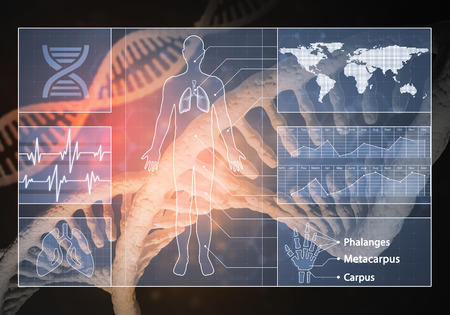 Media medicine background image as DNA research concept Stock Photo