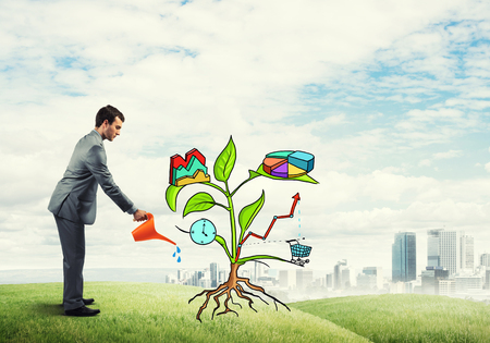 diagrama de arbol: Handsome businessman presenting investment and financial growth concept