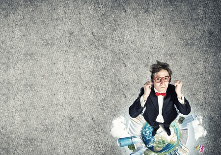 Top view of funny businessman in red glasses celebrating success. Elements of this image are furnished by NASA Stock Photo
