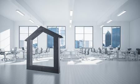 House stone figure as symbol of real estate and elegant office design. 3d rendering 版權商用圖片
