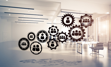futuristic interior: Cogwheels and gears mechanism as social communication concept in office interior. 3D rendering