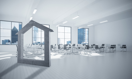 House stone figure as symbol of real estate and elegant office design. 3d rendering Stock Photo