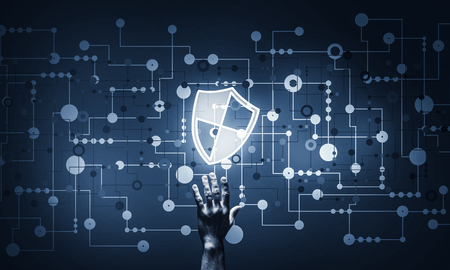 Person touching shield glowing icon as concept about security and protection Standard-Bild