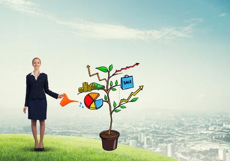Affaires présentant l'investissement attrayant et le concept de croissance financière Banque d'images - 80021920