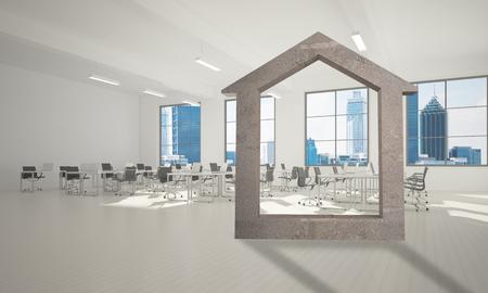 Huis stenen figuur als symbool van onroerend goed en elegant kantoorontwerp. 3D-rendering