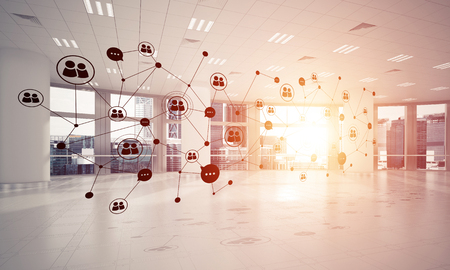 modern interior: Lines connected with dots as social communication concept in office interior. 3D rendering