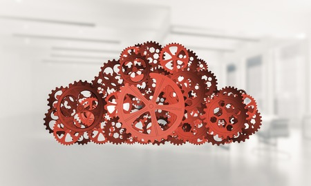 mixed media: Cloud computing and networking shown like gears and cogwheels engine. 3d rendering Stock Photo