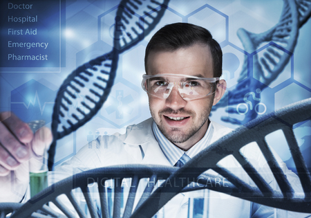 Handsome scientist making research over dna molecule structure Stock Photo - 81377940