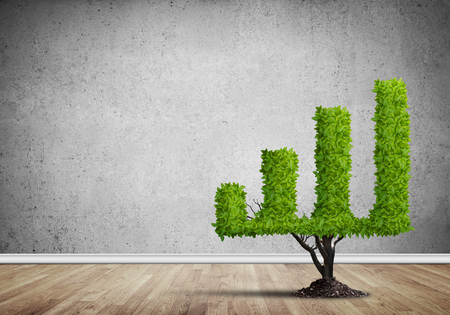 Market growth and success as growing green tree in shape of graph Stok Fotoğraf