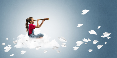 careless: Cute kid girl sitting on cloud looking in spyglass and paper planes flying around