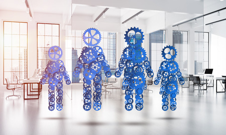 Figures of family made of gears and cogwheels on white office background. 3d rendering Stock Photo
