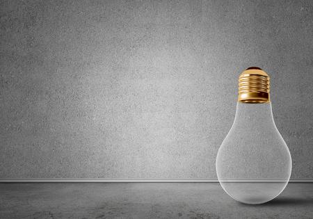 コンクリートの空部屋でガラスの電球