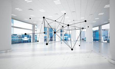 Linien schlossen an Punkte als soziales Kommunikationskonzept im Büroinnenraum an. 3D-Rendering Standard-Bild - 81596365