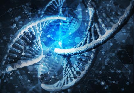 cromosoma: Background image with DNA molecule research concept. 3D rendering Foto de archivo