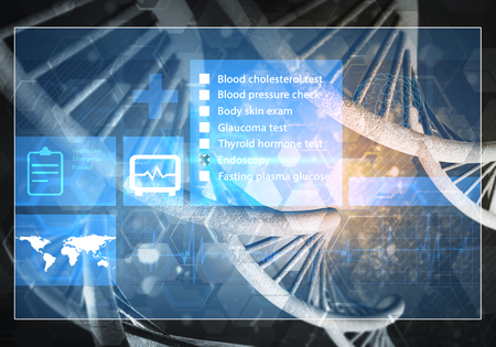 touch screen interface: Media medicine background image as DNA research concept. 3D rendering