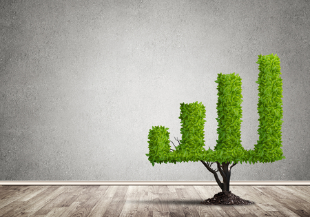 Market growth and success as growing green tree in shape of graph Imagens