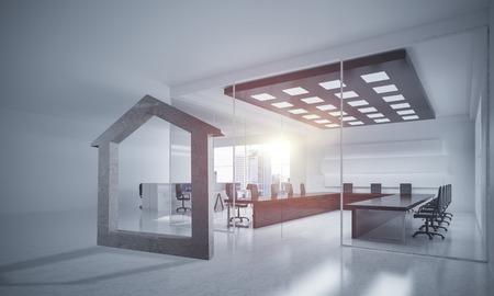 Figura de piedra de la casa como símbolo de propiedades inmobiliarias y diseño elegante de la oficina. Representación 3D Foto de archivo - 82044227