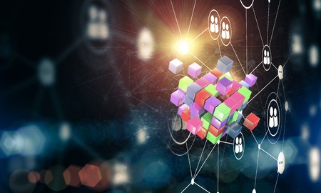 Conceptual background image with cube figure and social connection lines. 3d rendering Stock Photo - 82085661
