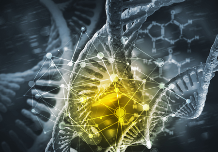 Background image with DNA molecule research concept. 3D rendering Banco de Imagens