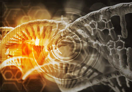 Background image with DNA molecule research concept. 3D rendering Stok Fotoğraf