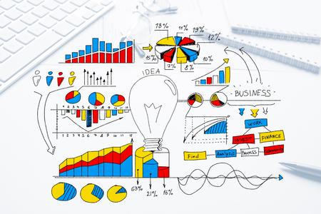 Boceto a color estrategia de negocios en el fondo blanco Foto de archivo - 82455250