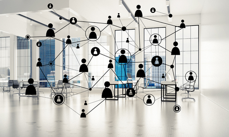 grid background: Lines connected with dots as social communication concept in office interior. 3D rendering