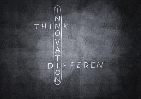 Business concept with crossword drawn on blackboard 版權商用圖片