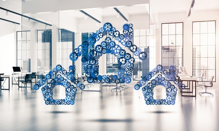 machinery: Conceptual background image with house sign made of connected gears. 3d rendering