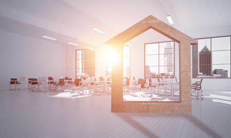 House stone figure as symbol of real estate and elegant office design. 3d rendering Reklamní fotografie