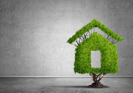 Haus geformt grünen Baum als Immobilien-Konzept Standard-Bild - 82590493