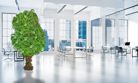 3d rendering of Green tree made of gears and cogwheels on white office background