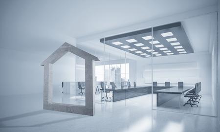 Figura de piedra de la casa como símbolo de propiedades inmobiliarias y diseño elegante de la oficina. Representación 3D Foto de archivo - 82798122