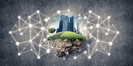 levitate: Beautiful small island with grass and cityscape on concrete background