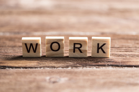 Business work word collected of elements of wooden elements with the letters Stok Fotoğraf