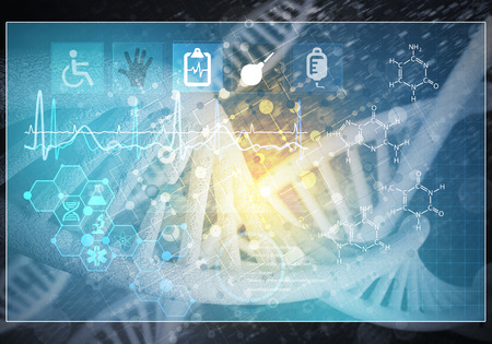 Media medicine background image as DNA research concept. 3D rendering Stock Photo - 83218800
