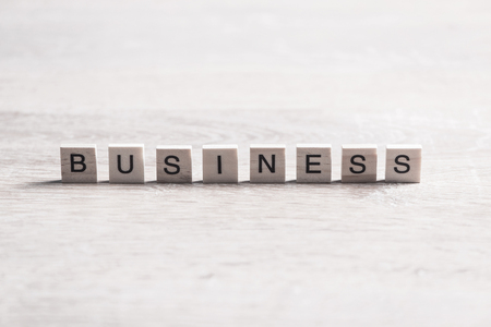 Business success word collected of elements of wooden elements with the letters